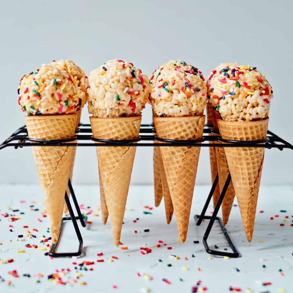 Rice Krispie Sprinkle Ice Cream Cones
