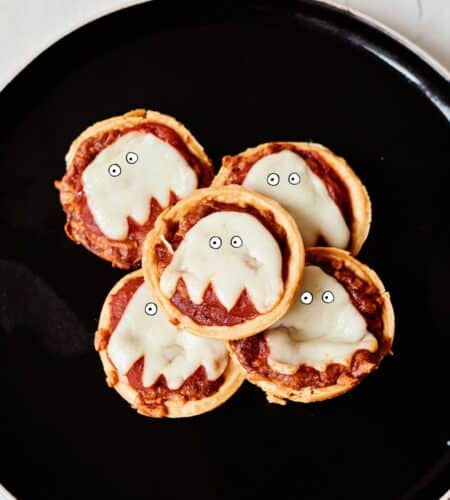 Mini Muffin Tin Ghost Pizzas
