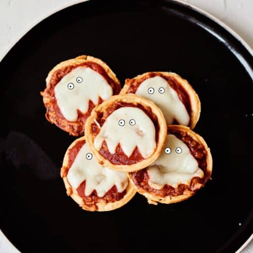 mini muffin tin ghost pizzas