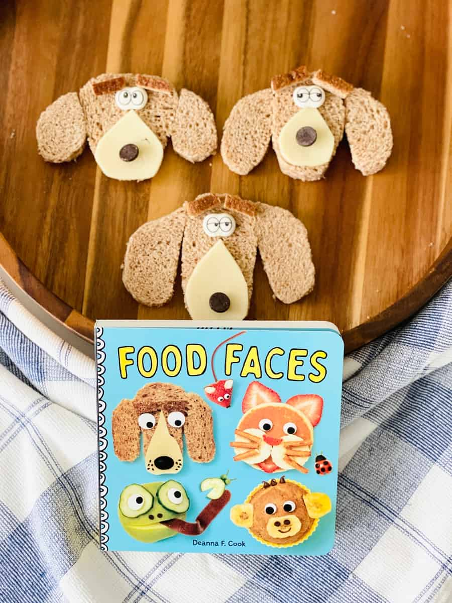 Puppy dog food art inspired by Food Faces kids board book