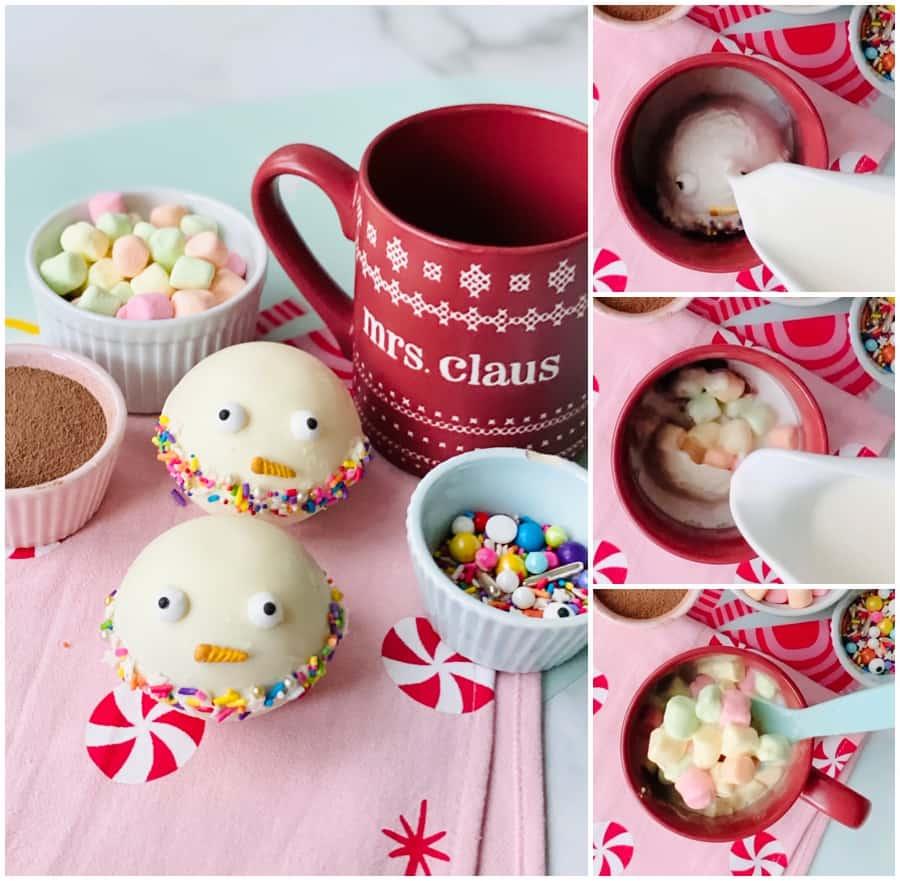 snowman hot chocolate christmas bombs