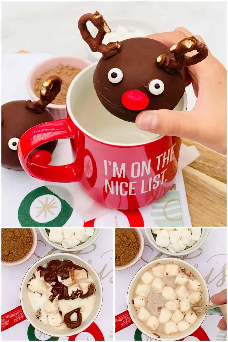 rudolph christmas hot chocolate bombs