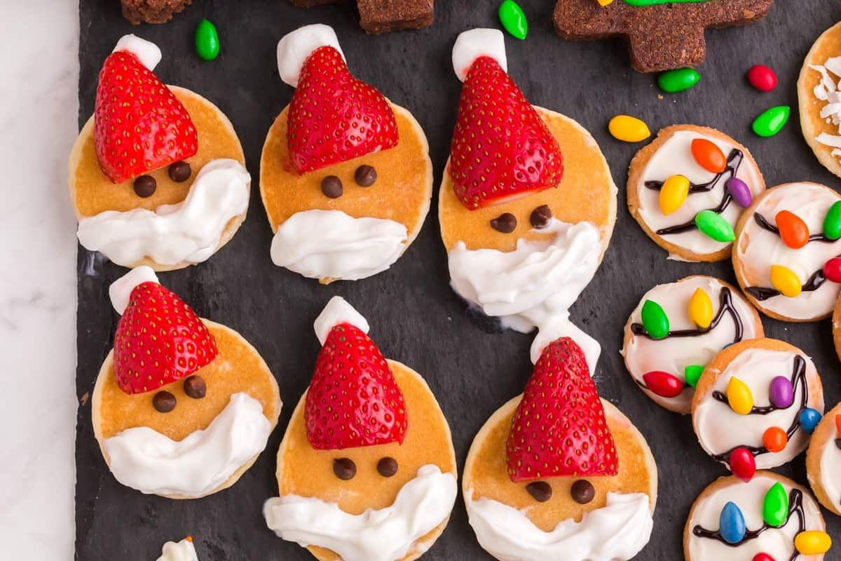 mini santa pancakes