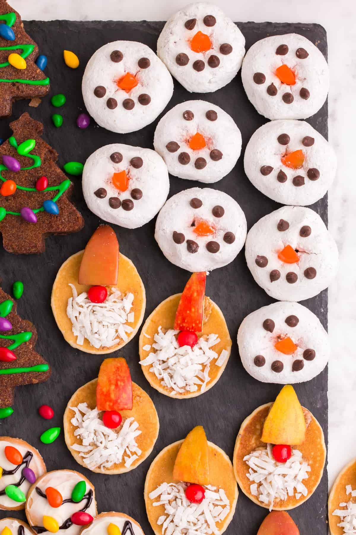 snowman dessert Christmas board