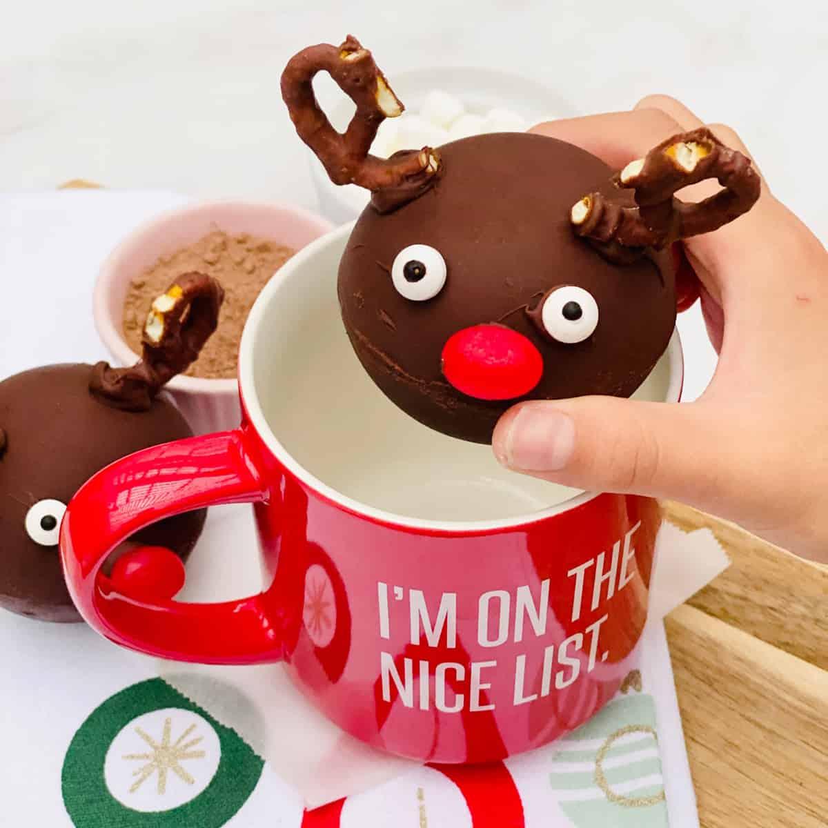 Rudolph Reindeer Christmas Hot Chocolate Bombs