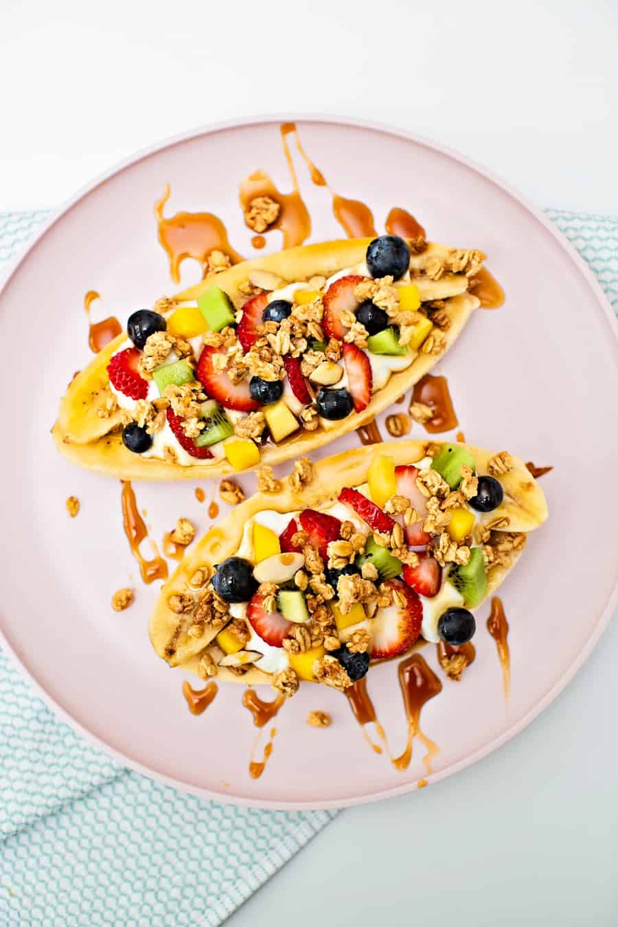banana splits made healthy with fruit and yogurt