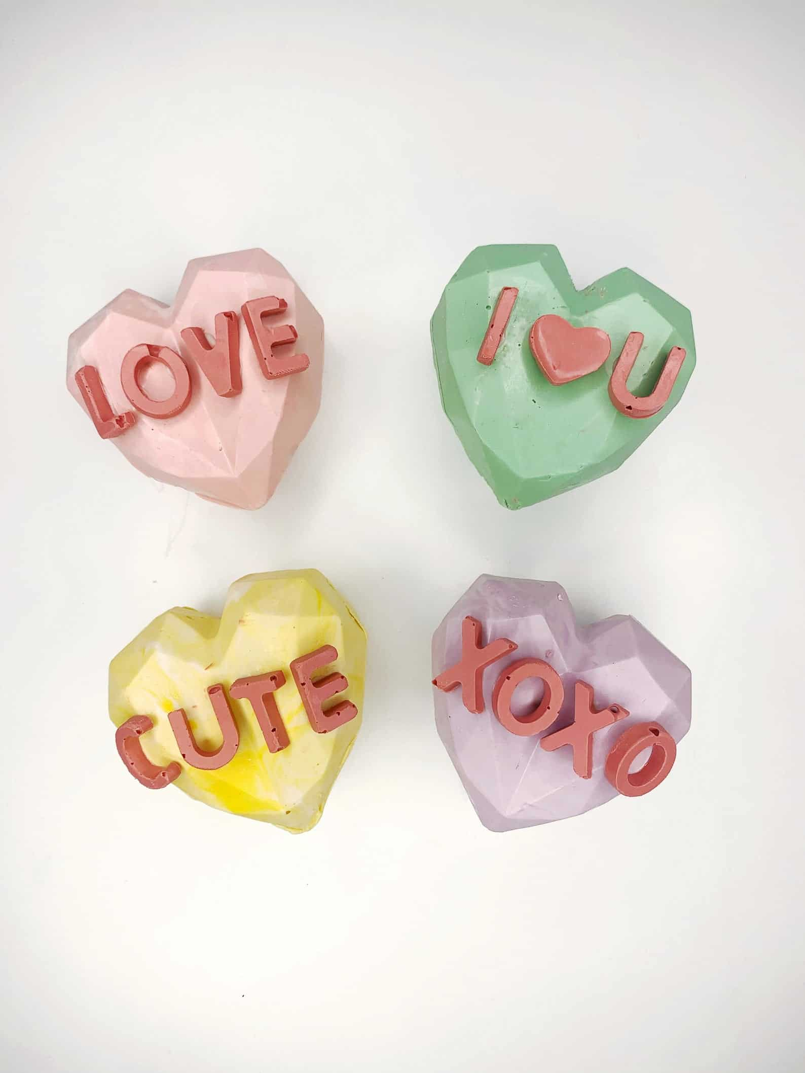 conversation heart chocolate bombs