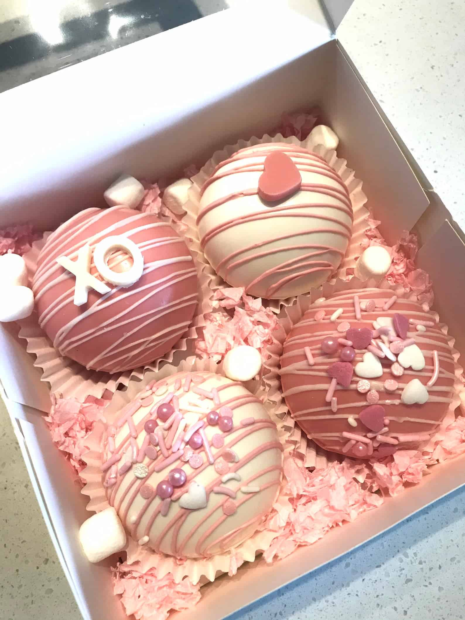 Pink Valentine Hot Cocoa Bombs