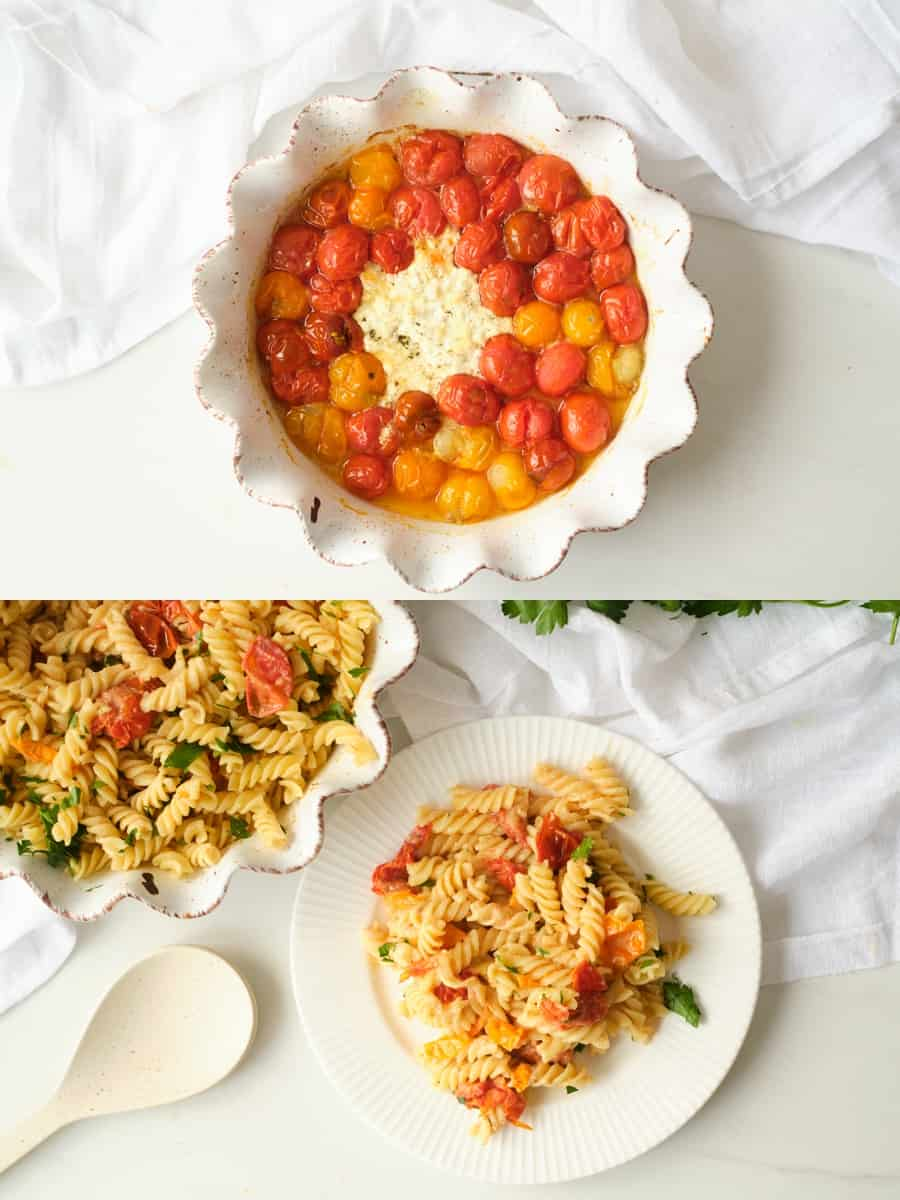 TikTok Inspired Herb and Goat Cheese Tomato Pasta