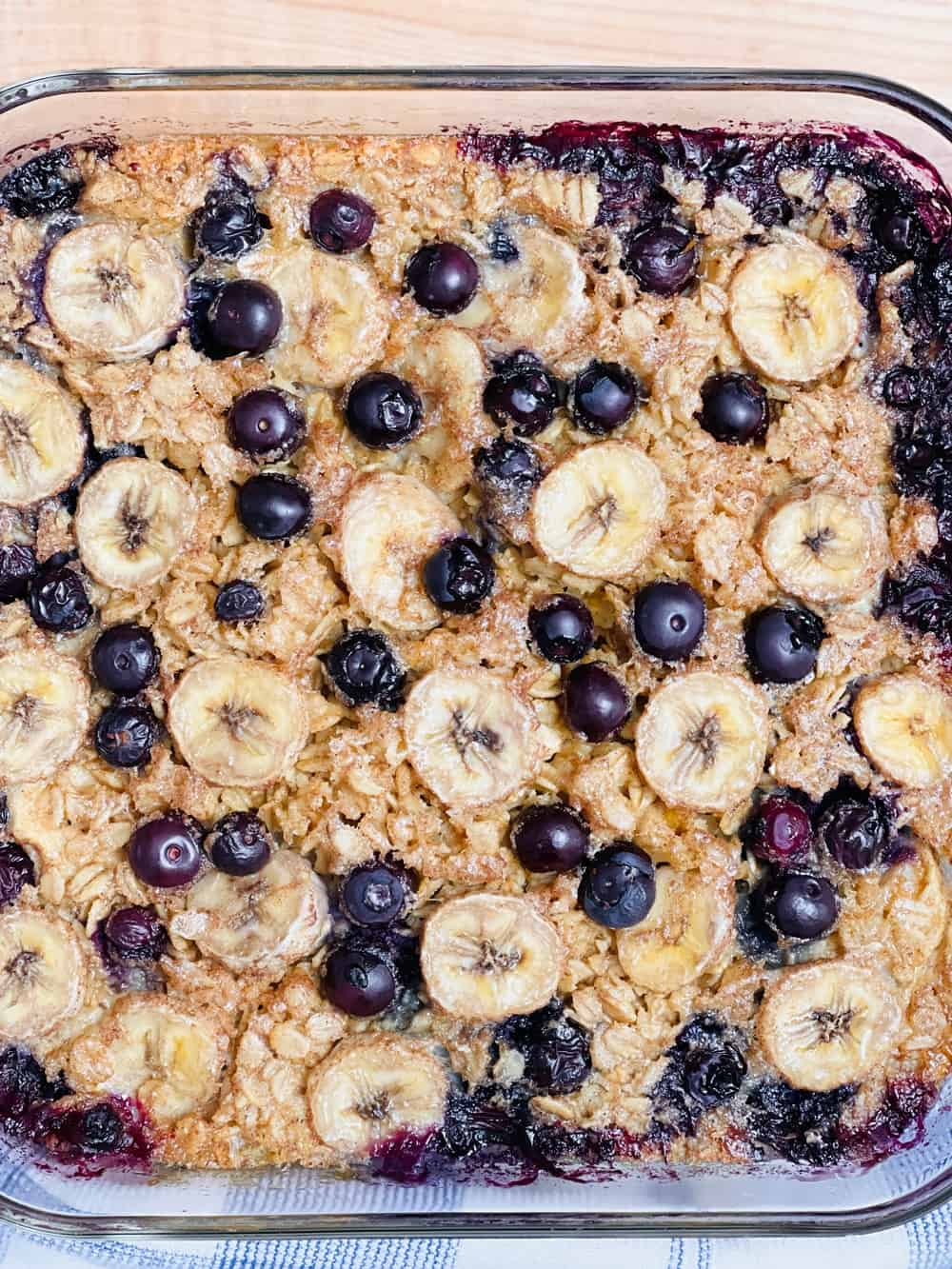TikTok Baked Oats Recipe made with bananas and blueberries