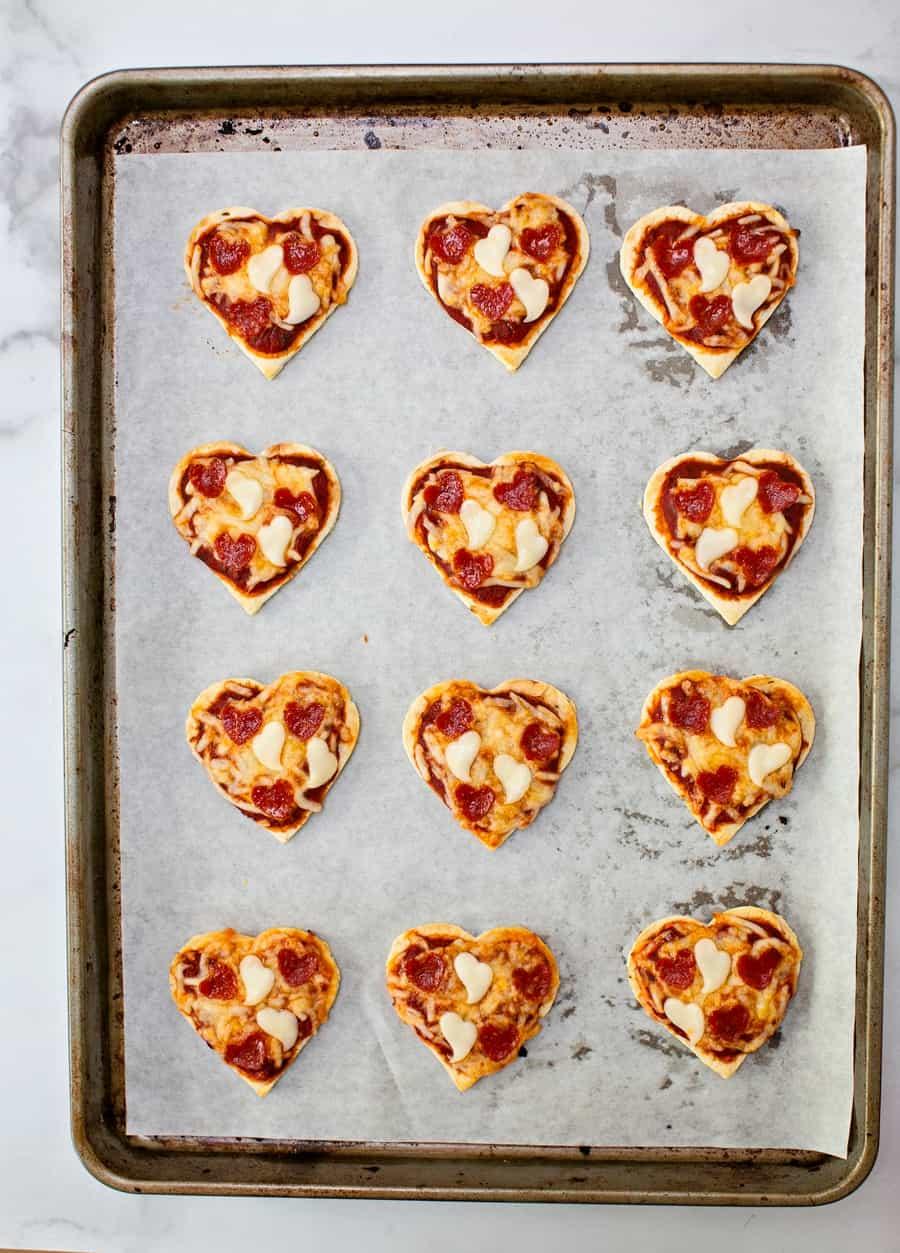 mini heart shaped pepperoni pizza