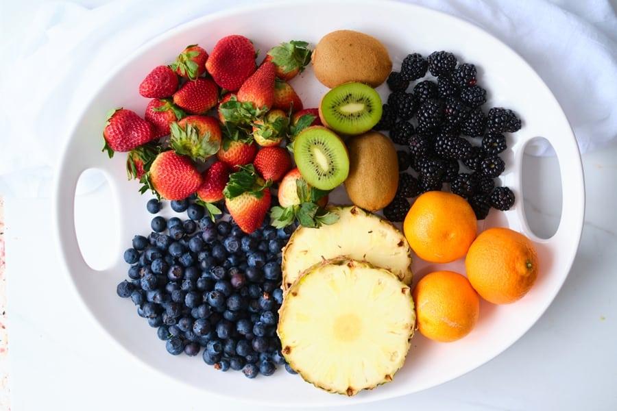platter of fresh rainbow fruits
