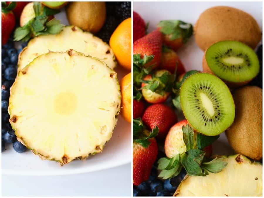fresh pineapple and kiwi fruit
