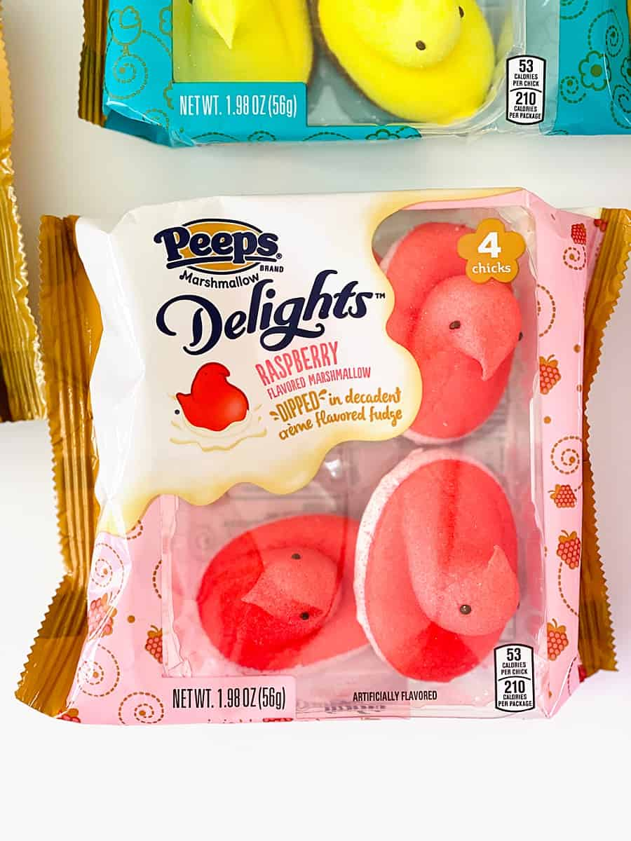 Raspberry Marshmallow dipped in decadent creme flavored fudge Peeps