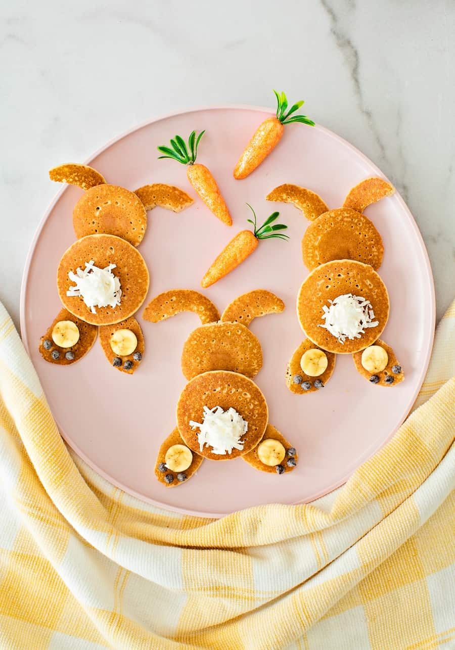 Mini Bunny Pancakes. Easter pancake recipe