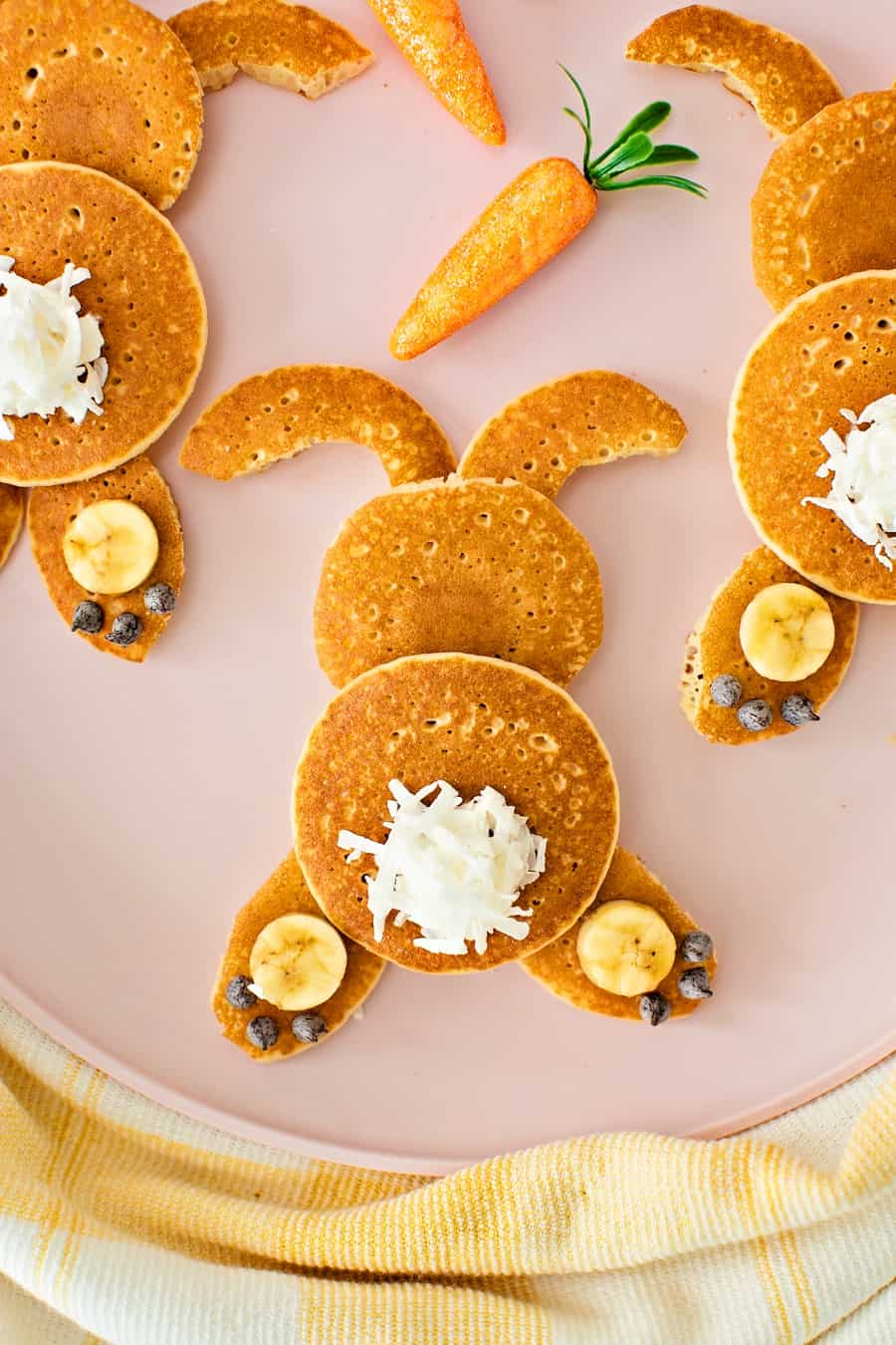 Mini Bunny Pancakes. Cute Easter Breakfast recipe for kids.