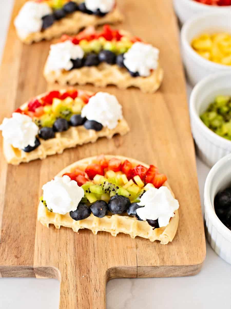 Mini Rainbow Waffles - cute rainbow breakfast recipe for kids