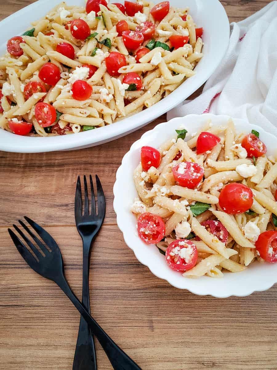 Easy Tomato Feta Pasta Salad Recipe