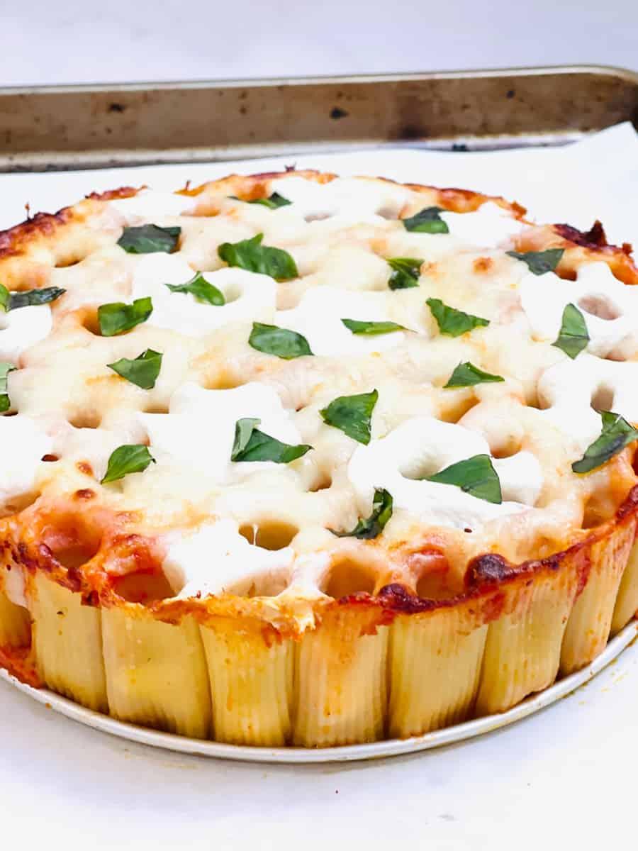 Honeycomb pasta cake AKA rigatoni pie