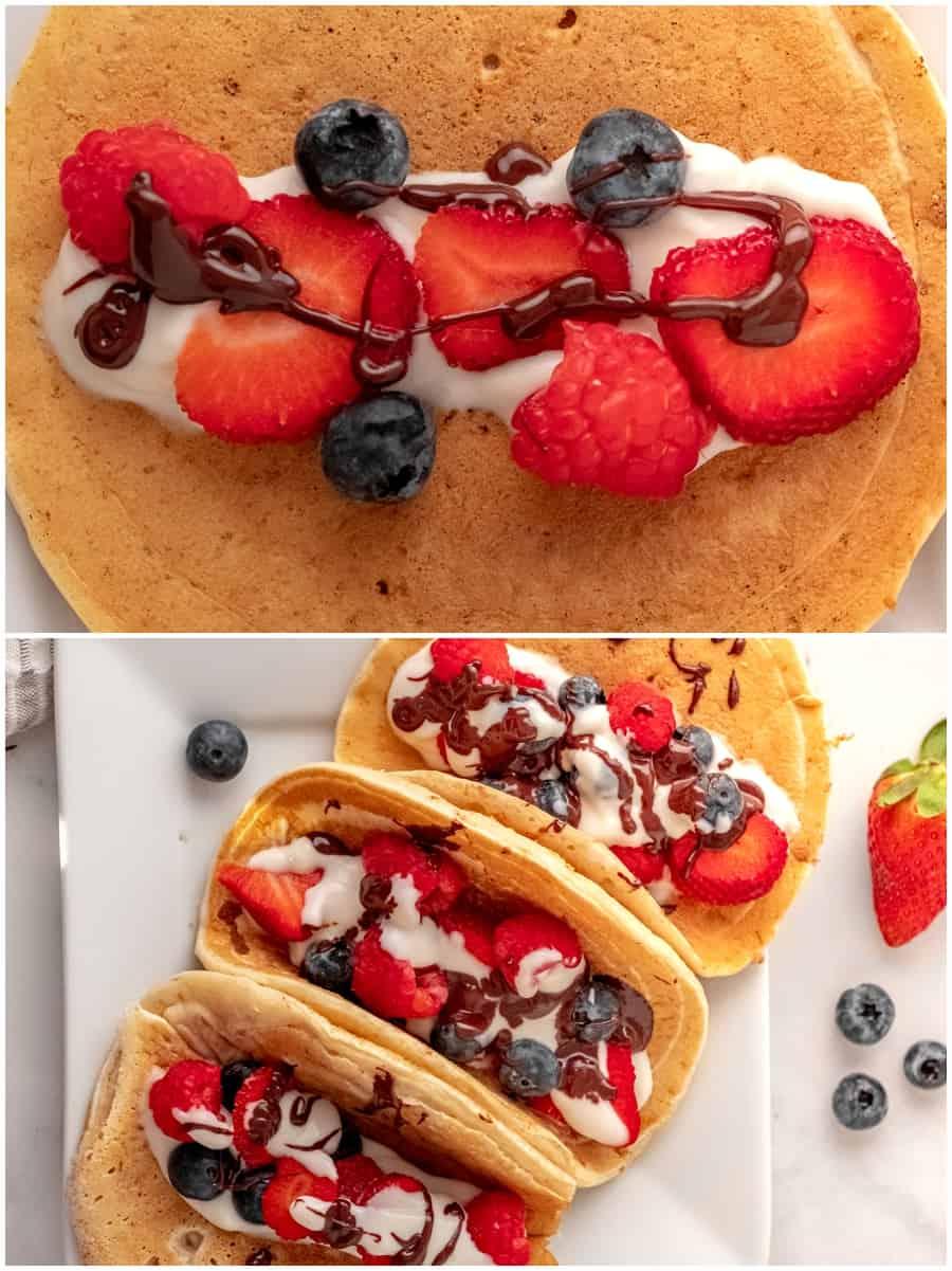 pancake fruit tacos