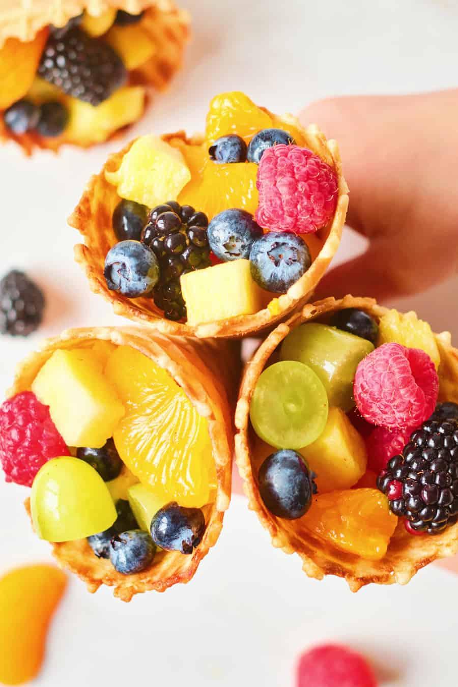 rainbow fruit ice cream cones