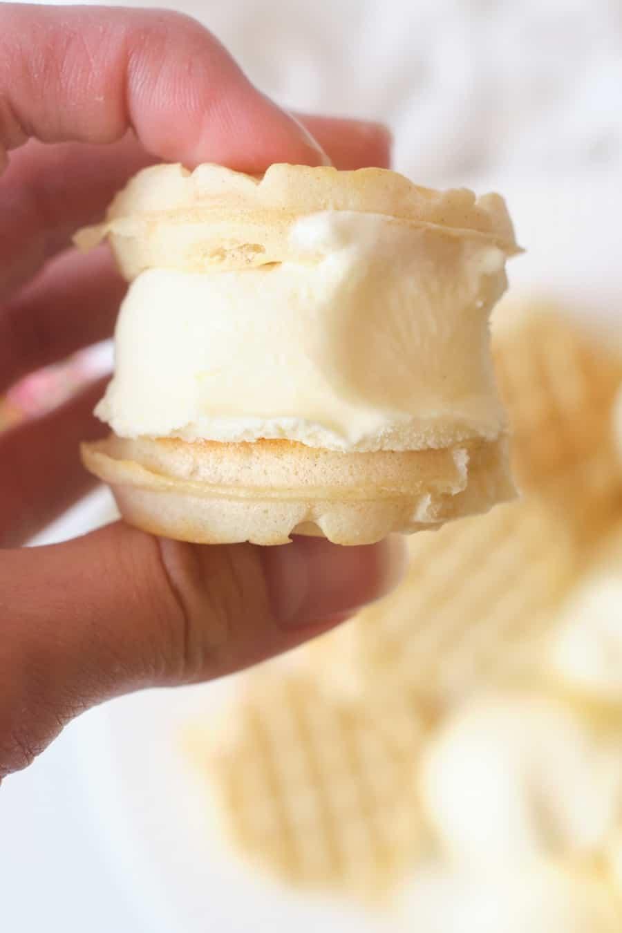 Mini Waffle Ice Cream Sandwiches