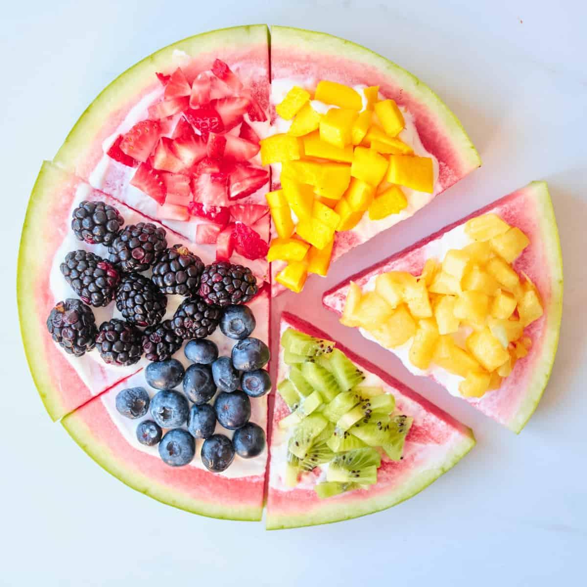 Rainbow Fruit Watermelon Pizza