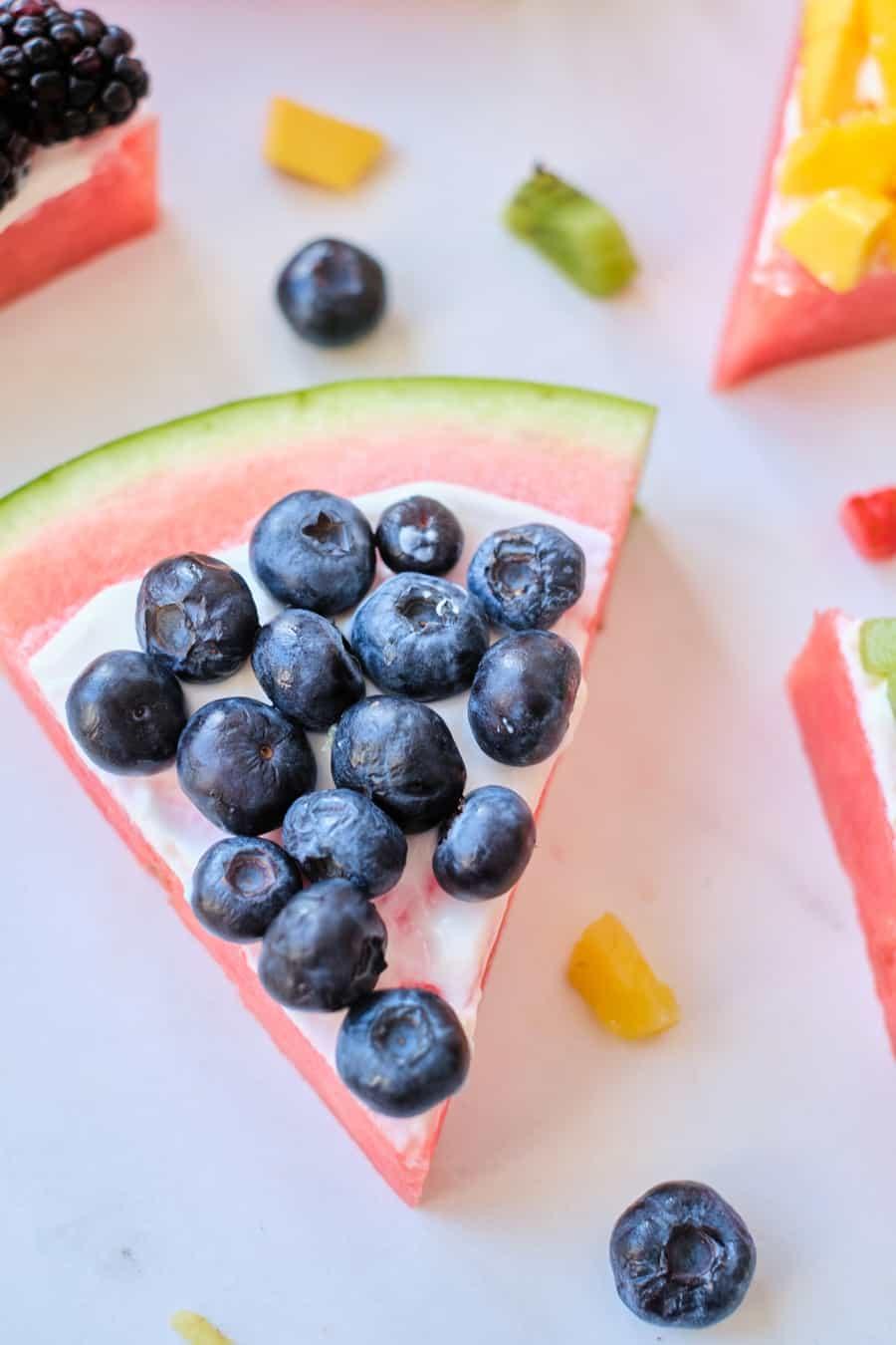 rainbow fruit snack for kids - watermelon pizza